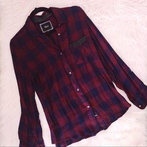 RAILS Maroon Blue Plaid Flannel Button Down Shirt